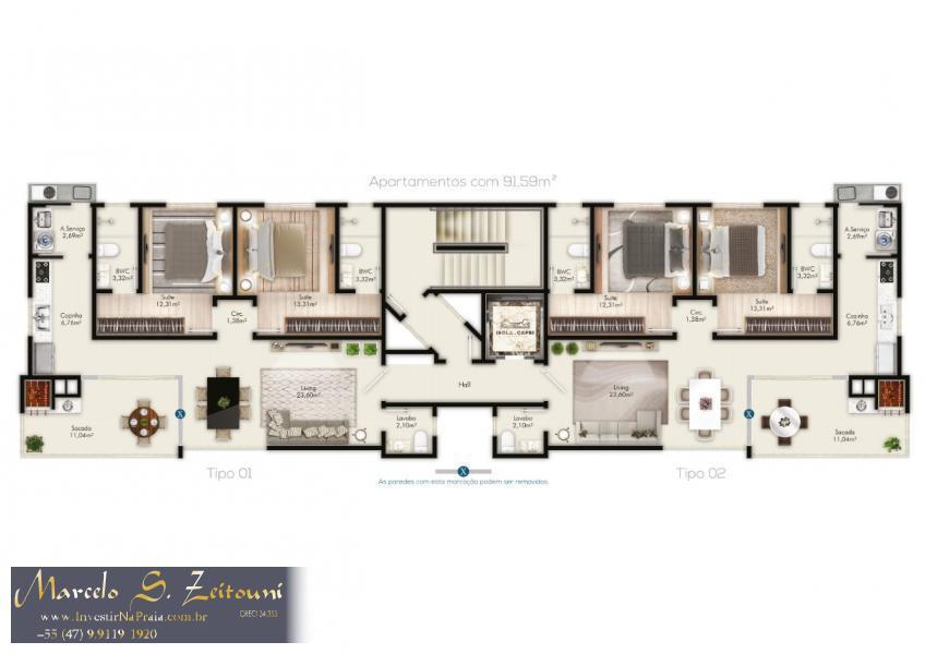 Apartamento com 2 Dormitórios à venda, 91 m² por R$ 554.059,00