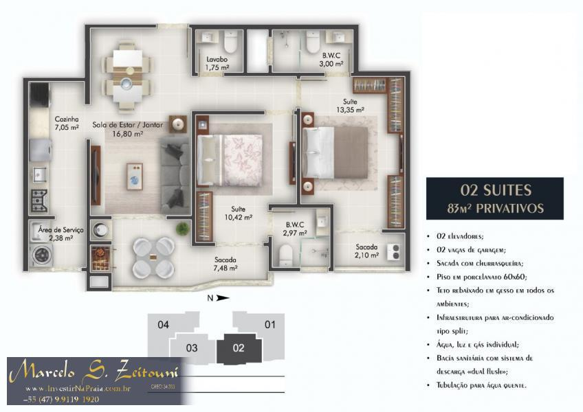Apartamento com 2 Dormitórios à venda, 83 m² por R$ 466.000,00