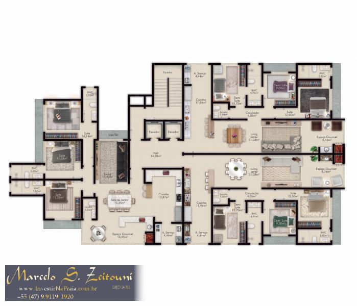 Apartamento com 3 Dormitórios à venda, 105 m² por R$ 519.439,00